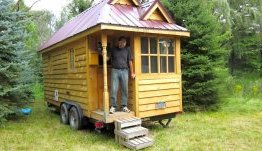 Jonathan Bellows with his tiny home